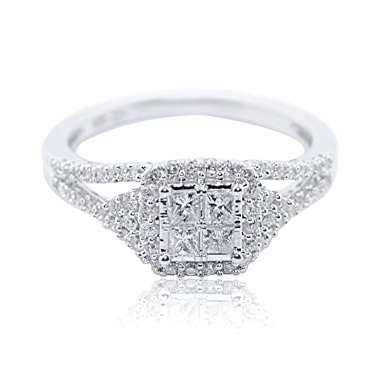 Rings-MidwestJewellery.com Women's 1/2Cttw Diamond Princess Cut Diamond Engagement Ring Vintage 8Mm Wide 10K White Gold