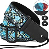 "Anwenk Guitar Strap 2"" Jacquard Weave Hootenanny Style Electric Guitar Strap Acoustic Strap Bass Strap with Tie,Pick Pocket, Strap Locks,2 Picks,Genuine Leather Ends,Top Grade Material,Best Gift Idea"