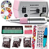 iMeshbean Colorful Complete Professional Improved 30000 RPM Electric Nail File Drill Acrylic Pedicure Machine Bits Kit Amazing DIY Tool USA (Pink) (Color: Pink)