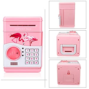 BENHOM Gift Toys Childrens Code Electronic Safe Banks Mini ATM Electronic Piggy Bank Boxed Childrens Combination Lock with Music
