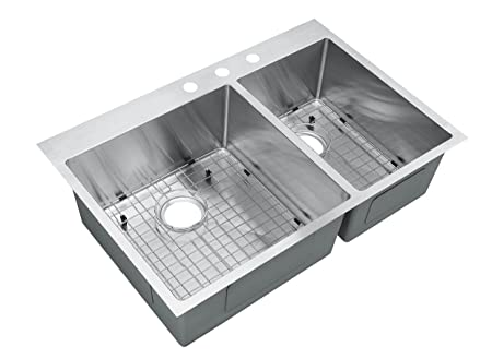"Starstar 33"" Top-mount 60/40 Double Bowl Kitchen Sink Drop-in 304 Stainless Steel 16 Gauge W/Grids"