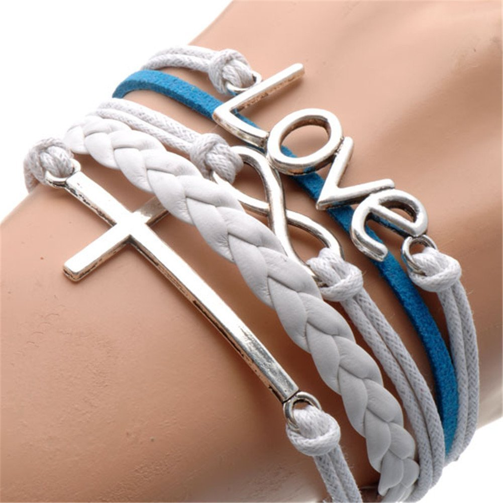 HUMASOL-Bronze-Infinity-Lady-Retro-Knit-Cross-Love-Rudder-Anchor-Love-Charms-Suede-Wrap-Bracelet-Gift