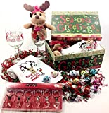 Christmas Holiday Gift Basket Box - Light Up Wine Charms, Wine Glasses, Plush Reindeer, Kitchen Towel & Lindt Gourmet Chocolate Truffles
