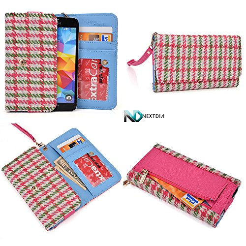 Smartphone Wallet Wristlet For Motorola Moto E Dual Sim Xt1022| Houndstooth Pattern : Baby Pink White Green With Credit Card Slots And Zippered Pouch For Coins + Detachable Wristlet front-1048864