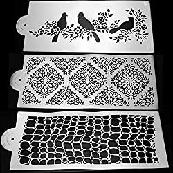 LussoLiv 3Pcs Pigeon Plastic Cake Stencil Wedding Cake Side Decorating Tool 14*6 Inch