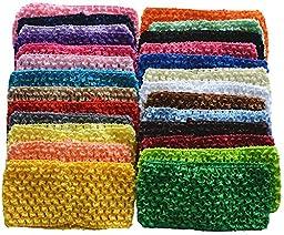 Qandsweet Baby Girl\'s Stretch Headbands Crochet Hair Bands (26pack) (2.7