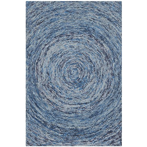 Safavieh Ikat Collection IKT633A Handmade Dark Blue and Multi Wool Area Rug, 3 feet by 5 feet (3' x 5')