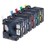 Anycolor 6 Pack Compatible DYMO D1 Label Tapes Combo Set Replacement DYMO 45010 45013 45016 45017 45018 45019 for DYMO LabelManager 160 280 420P PnP 220P 360D 450 210D (Color: Combo Set (6 Colors))