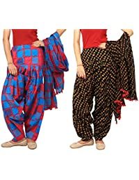 Rama Set Of 2 Printed Black & Blue Colour Cotton Full Patiala With Dupatta Set