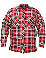 Mens Padded Quilted Lined Lumberjack Check Flannel Winter Casual Work Shirt