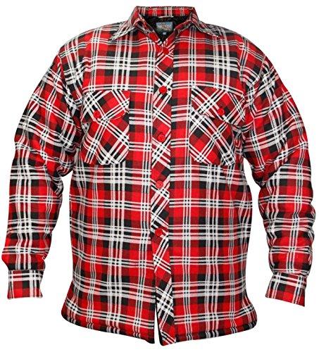 Rivestimento imbottito Lumberjack da uomo in flanella, motivo a scacchi, in stile Casual, Maglietta da lavoro invernali Rosso & nero medium