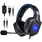 RUNMUS Gaming Headset Gaming Headphones for PS4, Xbox One (Adapter Needed), Nintendo Switch (Audio) etc. PC Gaming Headset with Stereo Surround Sound, LED Lighting & Noise Canceling Microphone (Color: Black)