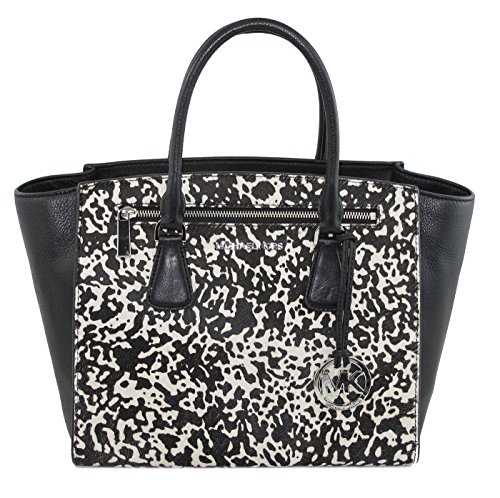 Michael Kors Large Sophie Calf-Hair Satchel Black & White back-407959