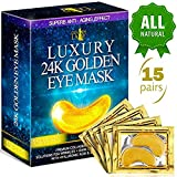 Luxury Under Eye Patches - 24K Gold Eye Mask Anti-Aging Hyaluronic Acid - Under Eye Mask for Reducing Dark Circles & Puffy Eyes (15 PAIRS) - Under Eye Bags Treatment (Color: Gold Mask)