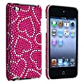 eForCity Snap-on Case compatible with Apple� iPod touch� 4th Generation, Pink with White Heart Bling Rear