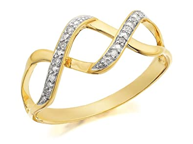 F. Hinds Womens Ladies 9ct Gold Diamond Double Strand Weave Ring - 5pts