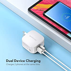 USB Wall Charger Adapter RAVPower 2-Pack Dual Port 17W Home Travel Charger with Foldable Plug, iSmart 2.0 Compatible with iPhone 11 Pro Max XS Max XR X, Galaxy S9 S8, Huawei and More (White) (Color: White)