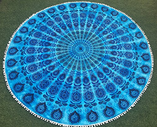 Round Mandala Indian Tapestry Pom Pom Lace Beach Throw Towel Yoga Mat 72 inches