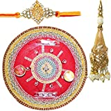 Handcrafted Ganesha Design Steel Pooja Thali Gift With Single Fancy Rakhi & Designer Lumba For Bhabhi For Rakhi... - B073RJY2YV