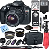 Canon EOS Rebel T6 Digital SLR Camera Wifi + EF-S 18-55mm IS STM Lens Kit + Accessory Bundle 64GB SDXC Memory + DSLR Photo Bag + Wide Angle Lens + 2x Telephoto Lens + Flash + Remote + Tripod & More