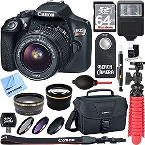 Canon EOS Rebel T6 Digital SLR Camera Wifi + EF-S 18-55mm IS STM Lens Kit + Accessory Bundle 64GB SDXC Memory + DSLR Photo Bag + Wide Angle Lens + 2x Telephoto Lens + Flash + Remote + Tripod & More