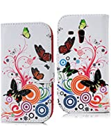 Samsung Galaxy S3 Mini SIII Mini I8190 Case - YOKIRIN Flip Pink PU Leather Cover Folio Protective Case for Samsung Galaxy S3 Mini SIII Mini I8190 Cases Butterfly Stand Cell Phone Shell Hard Cover with Card Holder