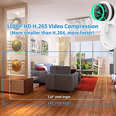 miSafes 1080p HD Day Night Vision Mini Smart Wireless Wifi Indoor Home Security Surveillance Nanny Camera Two-Way Audio Motion Alerts Remote View Cam Easy Bluetooth Connection 304 White from miSafes
