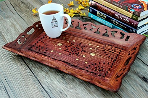 Decorative Rosewood Snack and Coffee Serving Tray with Brass Inlay Serveware