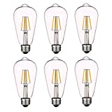Antique LED Bulbs Soft Warm White 2700K, 4W ST64 Dimmable Vintage Edison LED Bulbs, Squirrel Cage Filament Bulb, 360 Lumens, E26 Clear Glass, Pack of 6(2 Year Warranty) (Color: Warm White)