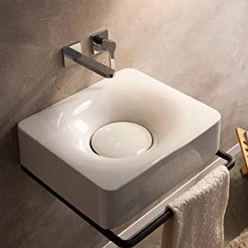 Scarabeo Scarabeo 6001-No Hole-637509861384 Fuji Collection Bathroom Sink, White