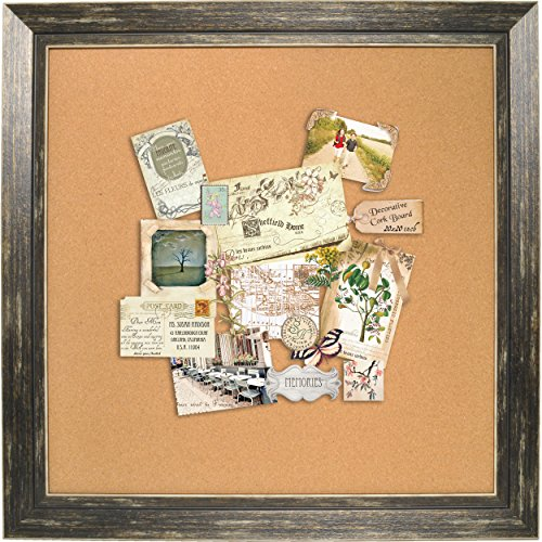 Distressed wood framed wall message cork board black for Office display board