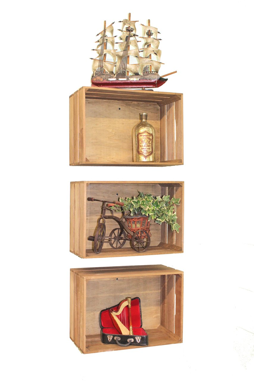 Vintiquewise(TM) Antique Style Wooden Crates, Set of 3 3