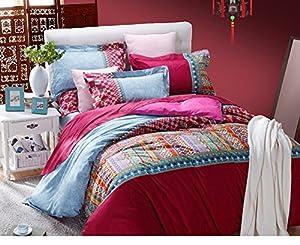 Sisbay Bohemian Exotic Ethnic Bedding Set,Unique Paisley Print Duvet Cover,Luxury Wedding Bed Set,Queen King Szie,4pcs