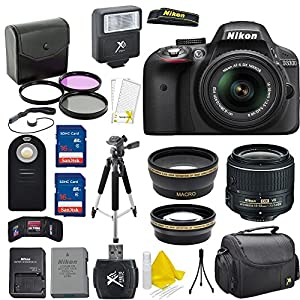 Nikon D3300 24.2 MP CMOS Digital SLR Camera + AF-S 18-55mm VR II Zoom Lens + Professional Accessory Kit (20 Items) - International Version(No Warranty)