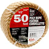 Koch 5011635 Twisted Polypropylene Rope,  1/2 by 50 Feet, Tan