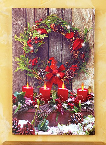Led Lighted Winter Cardinal Wall Canvas