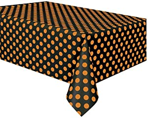 Orange and Black Polka Dot Halloween Table Cover