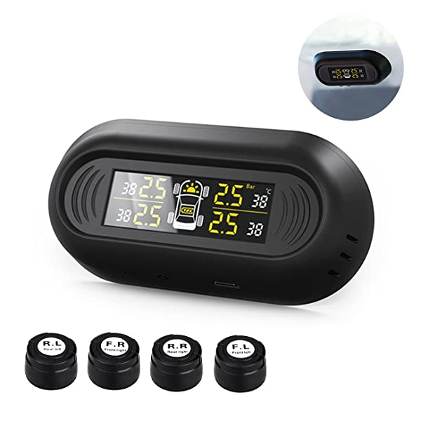Solar Power Car Auto TPMS Tire Pressure LCD Monitor System Wireless 4 Sensors