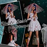 1428-zombie(XL):ハロウィンゾンビ花嫁スプラッターコスプレコスチューム仮装衣装ゾンビ大きいサイズホラー怖い血まみれ大人用血のりナース服レディースコスチューム(XL)