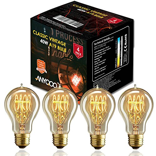 ANYQOO Victorian Vintage Edison Bulb 40W A19 Dimmable Spiral Filament Incandescent Lamp for Decorative Pack of 4 0
