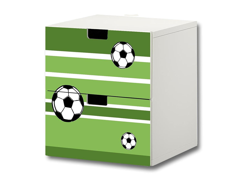 """""""Fußball"""" Möbelsticker / Aufkleber – S2K10 – passend für die Kinderzimmer Kommode mit 2 Fächern / Schubladen STUVA von IKEA – Bestehend aus 2 passgenauen Möbelfolien (Möbel nicht inklusive) günstig online kaufen"""