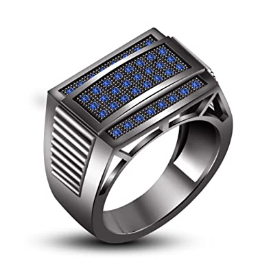 Vorra Fashion 1-1/2 CT.T.W. Blue Sapphire Black Rhodium Plated 925 Sterling Sliver Men's Ring
