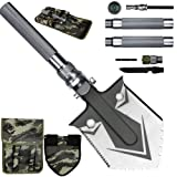 KEPEAK Military Folding Shovel Survival, Camping Shovel Multitool with Tactical Waist Pack for Camping, Hiking, Backpacking, Adventure (Color: Silver/Large, Tamaño: Large)