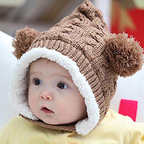 Lovely Kid Baby Girl Boys Knitting Wool Keep Warm Beanie Hat Cap (Fairy Coffee) (Bear Hood With Paw Scarf)