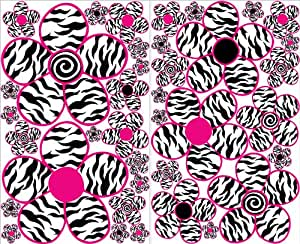 Sm Pink And Zebra Print Flower Wall Decals