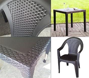 3tlg gartengarnitur balkonm bel set sitzgarnitur 79x79cm rattan look vollkunststoff. Black Bedroom Furniture Sets. Home Design Ideas