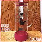 【耐熱温度120℃ & 容量1,100ml】耐熱ガラス・ポット/R 'レッドキャット/猫・ネコ'華やか薔薇&猫のシルエット!ちょっぴり優雅なひとときを。。。