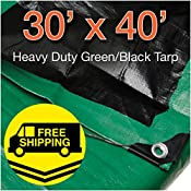 Super Heavy Duty Green/ Black Poly Tarp 30′ x 40′