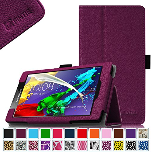Fintie Lenovo Tab 2 A7-10 / A7-30 Folio Hülle Case Cover Tasche Etui - Premium Leder Schutzhülle mit Auto Sleep / Wake für Lenovo Tab 2 A7-10/ A7-30 17,8 cm (7 Zoll) IPS Android Tablet, Lila