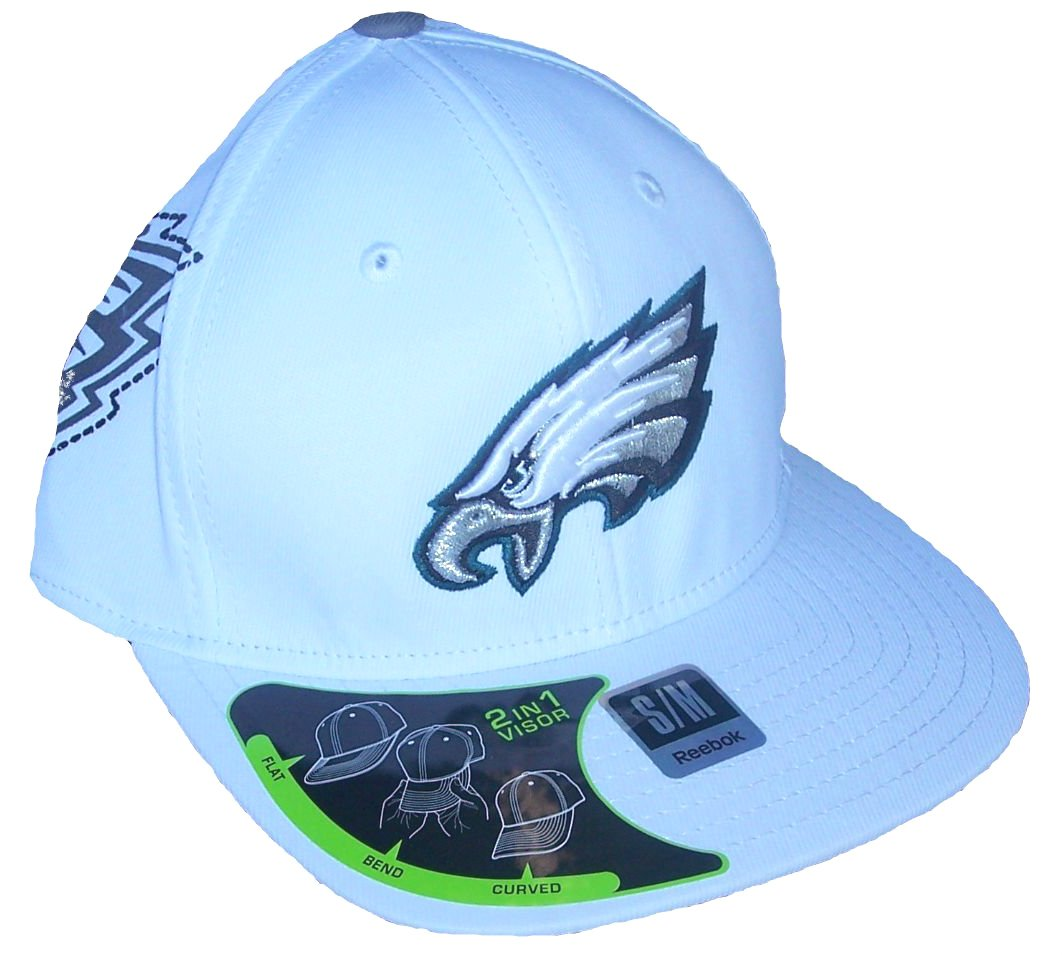 Philadelphia Eagles White Hat Flex Fit Size Small / Medium Cap NFL Authentic - Best Fits Size 7 Through 7 1/2 tom brady signed authentic reebok jersey